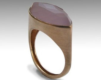 Alternative engagement ring, Solid Pink gold ring, Rose gold ring, rose chalcedony ring, pink gemstone ring - First impressions RG1225-1