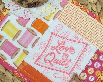 Love to Quilt Mug Rug Coaster and Planner Clip - Perfect for Mother's Day