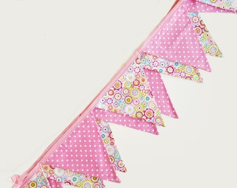 Pink Fabric Bunting Banner Flags, Nursery Bunting, Baby Girl Bunting, Baby Bunting, Girls bedroom decor, Baby Shower Gift, Bunting Flags