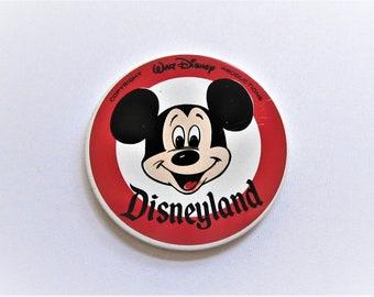 "DISNEYLAND Walt Disney Productions Mickey Mouse 3 1/2"" Button Badge Pin Japan"