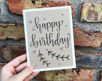 Happy Birthday Greeting Card - Handmade Calligraphy Birthday Card - Kraft Paper Overlay - Single Card