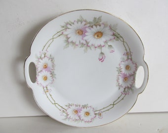 Floral Bavarian Cake Plate Antique Cake Plate Pink Daiseys Cake plate Antique Victorian Plate Z S Bavaria China Open Handle Cake Plate