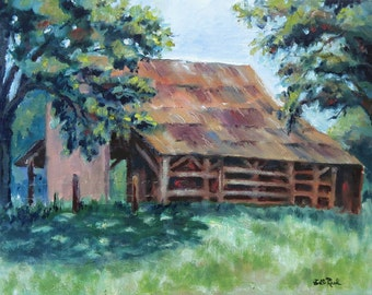 Cool Barn - Barnyard art print