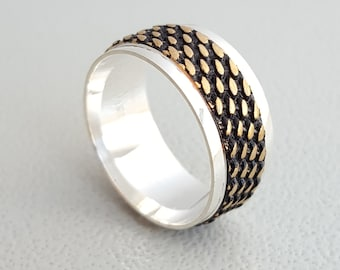 925K Silver & bronze wide textured band ring