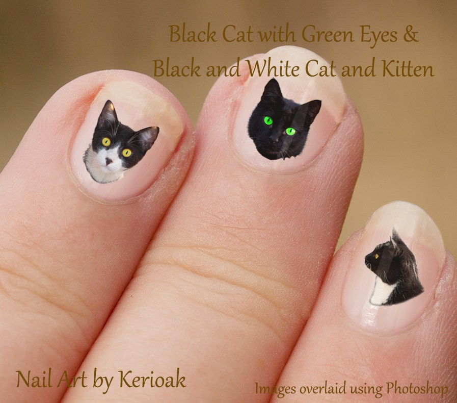 Cat Nail Art Stickers, Black and white Kitten Portrait, Black + ...