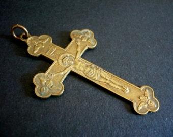 """Antique French Cross Pendant """"Souvenir de Mission"""""""