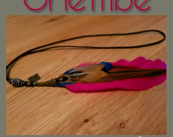 Bohemian festivals single feather necklace