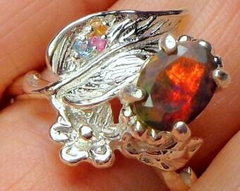 SALE,Sz 8, Black Welo Opal Ring, Ethiopian Opal, Sterling Silver, Flower Leaf Setting, Multi Color Sapphire Accents