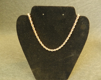 "Vintage Signed Monet Gold Tone Rope Chain Necklace - 26"" Lenth"