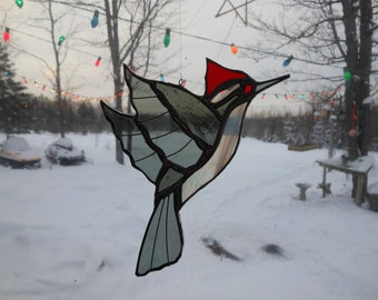 pileated woodpecker, stained glass suncathcer