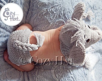 Elephant Hat & Diaper Cover Set. MADE to ORDER. Custom Colors