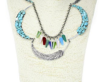 MarcyTreasure Handmade Pewter with Chips, Crystal and Chain Necklace
