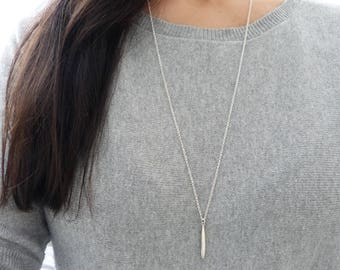 Sterling Silver Minimal Necklace, Silver Pointy Pendant, Spike Necklace, Everyday Necklace, Choose your length, Wife Gift, Gift for Mom