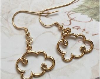 Gold Cloud Earrings - Puffy Cloud Earrings - Not Plated Weather Earrings - Cloud Silhouette Cloud Jewelry - Cloud Outline - Open Cloud Charm