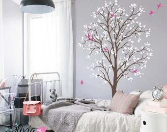 Baby nursery Spring Tree vinyl wall decal, removable tree mural with birds -NT011