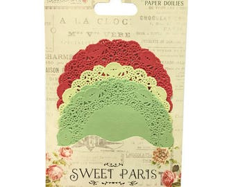 LOT 30 DOILY ROUND PAPER GREEN YELLOW RED SCRAP EMBELLISHMENT SCRAPBOOKING