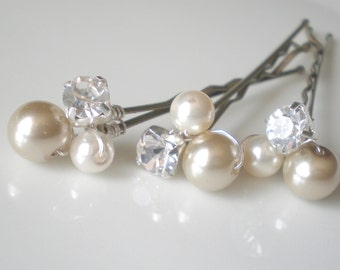 Bridal Pearl and Rhinestone Hair Pin Jewelry. Taupe Ivory. Shower Gift. Prom. Bride Maids. Shower Gift
