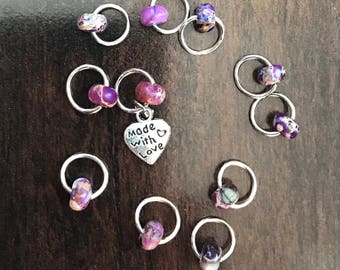 Made with love Ring Stitch Markers, Purple clay beads, Swirl, knitting supplies, snag less, knitting markers, stitchmarkers, knitter gift