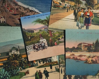 6 vintage postcards / city of Nice / new old Stock / South of the France / Riviera / holiday cards / ephemeral
