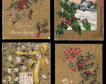 4 Four Antique Christmas Postcards. Gold. Holly. Xmas Bells. 14 x 21. Digital Paper Download Scrapbooking Supplies Instant High Resolution