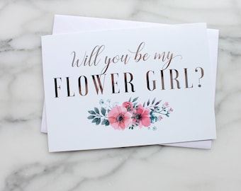 Will You Be My Flower Girl Cards // Greeting Cards // Silver Foil // Bridal Party Cards // Bridesmaid Proposal // Wedding Party