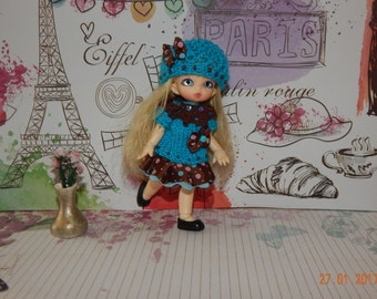 """Pukipuki Lati White SP Soom Imda 11-12 cm BJD Outfit """"Chocolate and turquoise"""" for dolls of similar format"""