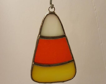 Candy Corn Stained Glass Suncatcher