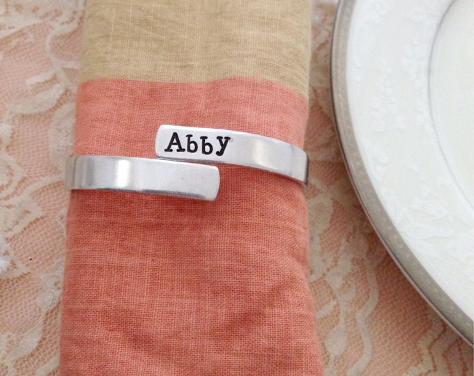 Set of 4 family napkin rings, personalized, fun party set