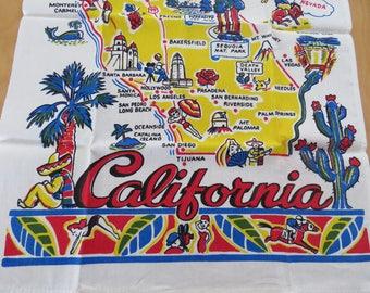 Vintage Souvenir Kitchen Tea Towel California MINT
