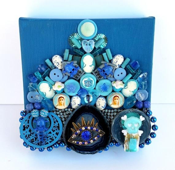 Blue Treasure Canvas - Mixed Media Miniature Canvas