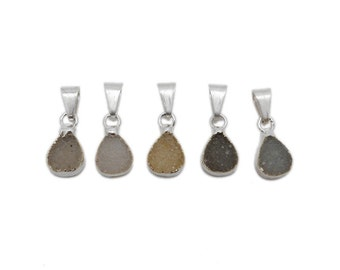 Tiny Druzy Teardrop Pendant with Electroplated Silver Edge (DC-04)