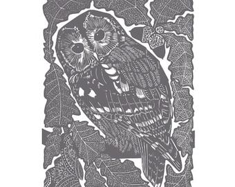 Linocut of an owl in an oak tree