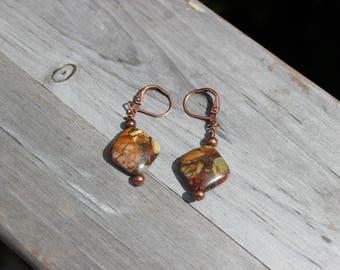 Red Creek Jasper Antique Copper Leverback Earrings, Dangle Drop Earrings, Southwestern Style Earrings