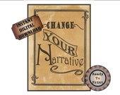 "Change Your Narrative Printable Sign ~ 8.5X11"" JPG File ~ Wild West Aged Download ~ Encouragement Inspiration ~ Western TV Movie Party Decor"