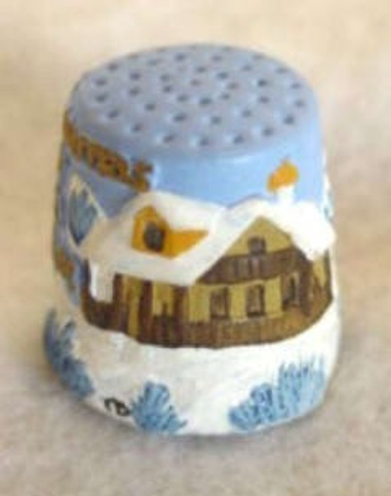 """Vintage English Hand Painted Pewter Thimble.. """"Our House To Yours""""- Artist Signed"""