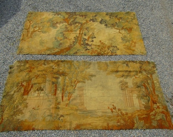 2 large antique pieces of woven tapestry