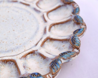 Deviled Egg Plate in Cream with Blue Accent - Ceramic Stoneware Pottery