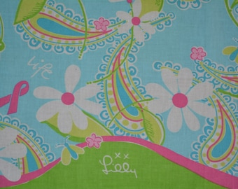 LILLY PULITZER Paisley fabric handkerchief hankie Lilly scarf Breast cancer awareness Ford Promo pink paisley teal lime Lilly floral fabric