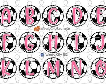 Pink Soccer Alphabet Bottle Cap Images