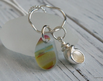 Sterling Sea Shell Charm with One of a Kind Colored Sea Glass with Wavy Sterling Ring