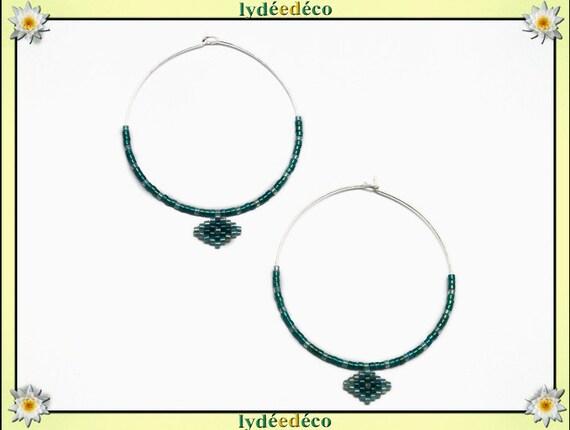 925 sterling silver hoop earrings round woven beads Japanese green water diameter 45mm