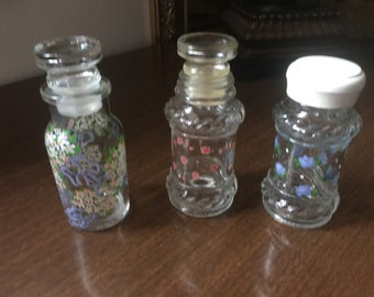 Glass Bottles with Hand Painted Flowers  - Bottles with Stoppers - Hand Painted Flowers