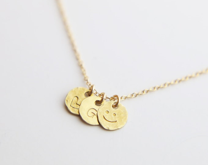 Tiny Hammered Coin Disk Necklace - minimalist necklace 14K gold filled tiny gold coin, Sterling silver tiny coin, personalized gift  EP009