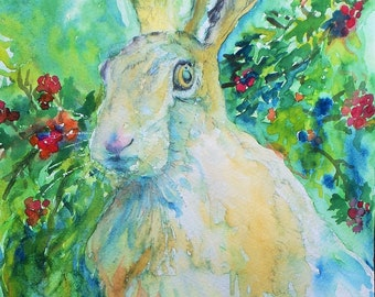Hare Print Winter Berries Hare Beautiful Giclee Print of  Watercolour and Ink Painting on Watercolour Paper