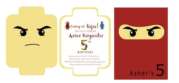 Ninjago Einladung Basteln: Ninjago Lego-Party-Einladung / / Lego-Party-Einladung