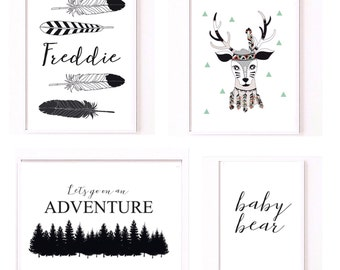 Monochrone explorer collection nursery kids room prints