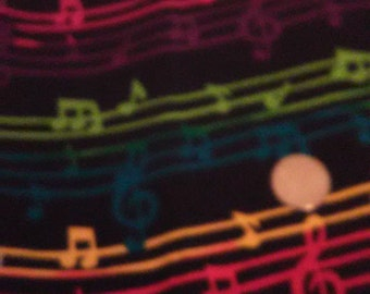 FABRIC MUSICAL NOTES/Multi-Colored Notes/Black Backround/One Yard Piece