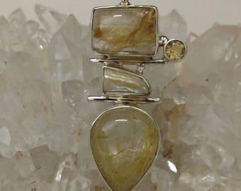 Rutilated Quartz, Citrine and Biwa Pearl Pendant Necklace