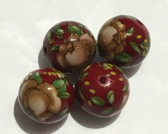 4 Red glossy rose Japanese tensha acrylic beads