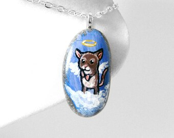 Mouse Art Pet Portrait, Memorial Necklace, Angel Pendant, Pet Loss, Hand Painted Beach Stone, Animal Jewelry, Original Painting, Unique Gift